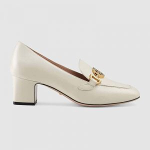 Gucci Women Gucci Zumi Leather Mid-Heel Loafer with Interlocking G Horsebit in 5.6 cm Height-White