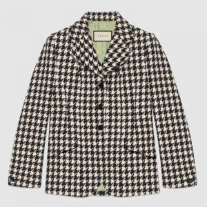 Gucci Women Houndstooth Fitted Jacket in Wool and Cotton-Black