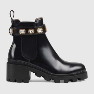 Gucci Women Leather Ankle Boot with Belt 6 cm Heel in Black Shiny Leather
