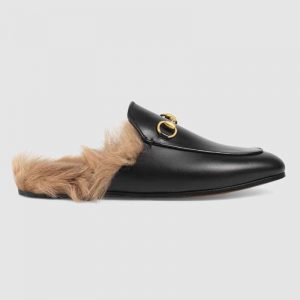 Gucci Women Princetown Leather Slipper with Lamb Wool-Black