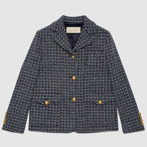 Gucci Women Square G Wool Jacket in Boxy Fit-Navy