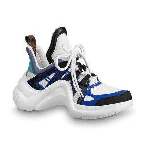 Louis Vuitton LV Unisex LV Archlight Sneaker in Calf Leather and Technical Fabric-Blue