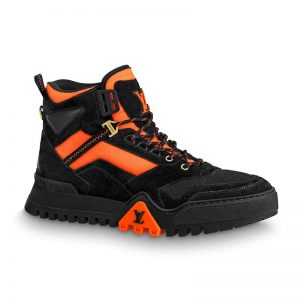 Louis Vuitton LV Unisex LV Hiking Ankle Boot in Ubuck Suede Calf Leather and Textile-Orange