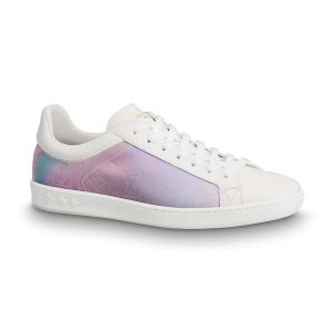Louis Vuitton LV Unisex LV Luxembourg Sneaker in Iridescent Monogram Textile and Calf Leather-Rose