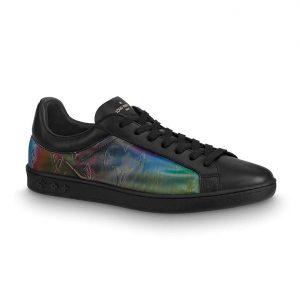 Louis Vuitton LV Unisex LV Sneaker Luxembourg in Iridescent Monogram Textile and Calf Leather-Black