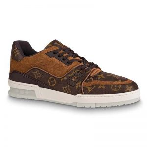 Louis Vuitton LV Unisex LV Trainer Sneaker in Monogram Canvas and Suede Calf Leather-Brown