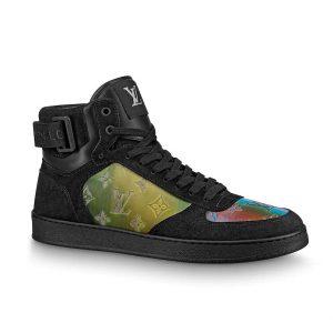Louis Vuitton LV Unisex Rivoli Sneaker Boot in Iridescent Monogram Textile and Calf Leather-Black