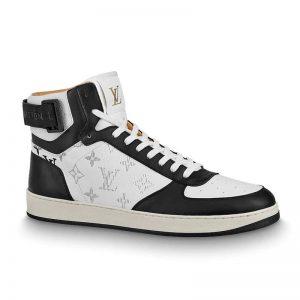 Louis Vuitton LV Unisex Rivoli Sneaker Boot in Monogram Grained Calf Leather-Black