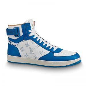 Louis Vuitton LV Unisex Rivoli Sneaker Boot in Monogram Grained Calf Leather-Blue