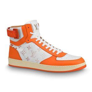 Louis Vuitton LV Unisex Rivoli Sneaker Boot in Monogram Grained Calf Leather-Orange