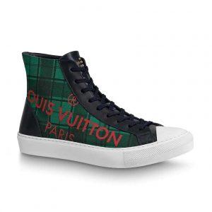 Louis Vuitton LV Unisex Tattoo Sneaker Boot in Damier Tartan Canvas-Green