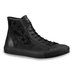Louis Vuitton LV Unisex Tattoo Sneaker Boot in Damier Tartan Canvas with Monogram Embroidery-Black