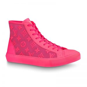 Louis Vuitton LV Unisex Tattoo Sneaker Boot in Damier Tartan Canvas with Monogram Embroidery-Pink