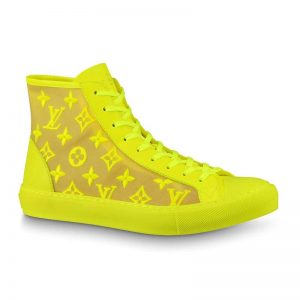 Louis Vuitton LV Unisex Tattoo Sneaker Boot in Damier Tartan Canvas with Monogram Embroidery-Yellow