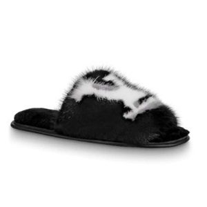 Louis Vuitton LV Women Homey Flat Mule in Mink Fur-Black