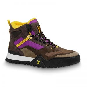 Louis Vuitton LV Women LV Hiking Ankle Boot in Ubuck Suede Calf Leather and Textile-Purple