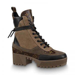 Louis Vuitton LV Women Laureate Platform Desert Boot in Suede Calf Leather and Monogram Canvas-Brown
