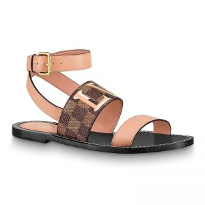 Louis Vuitton LV Women Passenger Flat Sandal in Damier Canvas and Calf Leather-Brown
