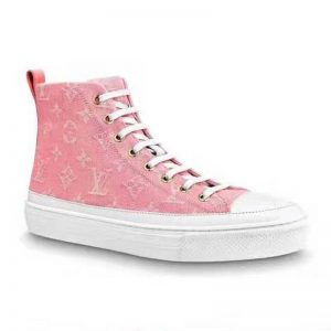 Louis Vuitton LV Women Stellar Sneaker Boot in Pink Monogram Denim