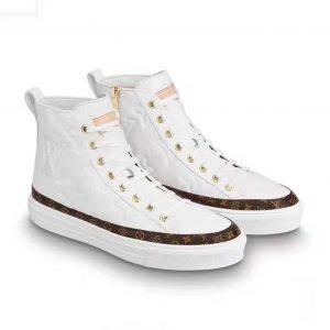 Louis Vuitton LV Women Stellar Sneaker Boot in Soft White Calfskin Leather