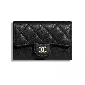 Chanel Women Classic Card Holder in Grained Calfskin & Gold-Tone Metal-Black