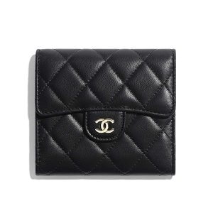 Chanel Women Classic Small Flap Wallet in Lambskin & Gold-Tone Metal-Black