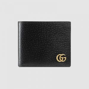 Gucci GG Men GG Marmont Leather Bi-Fold Wallet in Black in Calfskin Leather