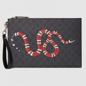Gucci GG Men Gucci Bestiary Pouch with Kingsnake in BlackGrey GG Supreme Canvas