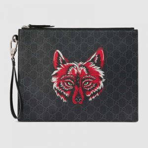 Gucci GG Men Gucci Bestiary Pouch with Wolf in Black and Grey GG Supreme Canvas