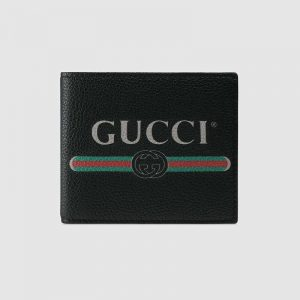 Gucci GG Men Gucci Print Leather Bi-Fold Wallet in Black Leather