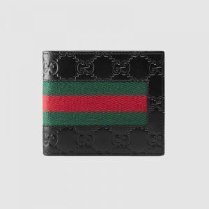 Gucci GG Men Gucci Signature Web Wallet in Black Gucci Signature Leather