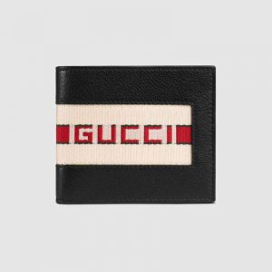 Gucci GG Men Gucci Stripe Leather Wallet in Black Leather