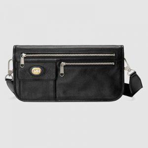 Gucci GG Men Medium Soft Leather Messenger Bag in Soft Black Leather