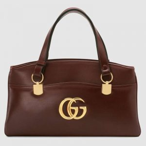 Gucci GG Women Arli Large Top Handle Bag With Gold-Toned Double G Metal Hardware-Maroon
