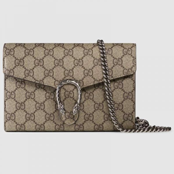 Gucci GG Women Dionysus GG Supreme Chain Wallet-Sandy