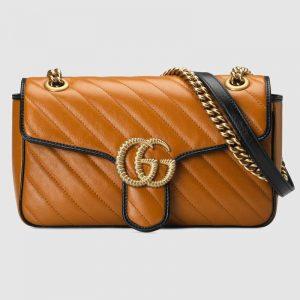 Gucci GG Women GG Marmont Small Shoulder Bag in Diagonal Matelassé Leather-Yellow
