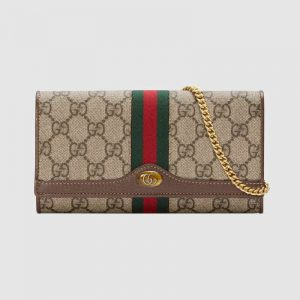 Gucci GG Women Ophidia GG Chain Wallet in BeigeEbony GG Supreme Canvas