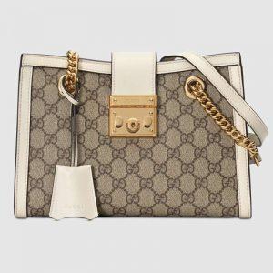 Gucci GG Women Padlock GG Small Shoulder Bag in BeigeEbony GG Supreme Canvas