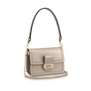 Louis Vuitton LV Women Dauphine MM Bag in Smooth Calfskin Leather-Beige
