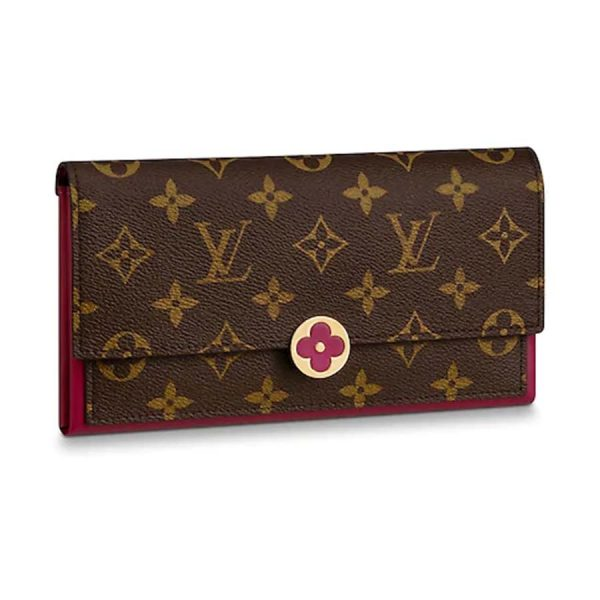 Louis Vuitton LV Women Flore Wallet in Monogram Coated Canvas and Calf Leather-Rose