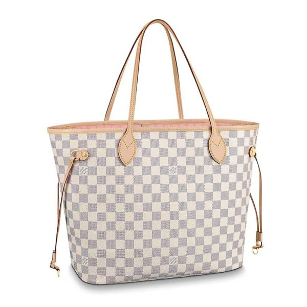 Louis Vuitton LV Women Neverfull MM Tote Bag in Damier Azur Canvas-Pink