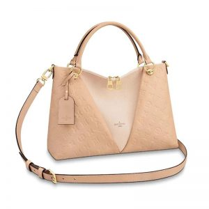 Louis Vuitton LV Women V Tote MM Bag in Embossed Monogram Empreinte Cowhide Leather-Sandy