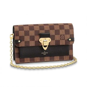 Louis Vuitton LV Women Vavin Chain Wallet in Damier Ebene Coated Canvas-Black
