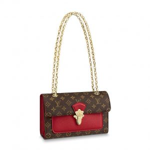 Louis Vuitton LV Women Victoire Chain Bag in Monogram Coated Canvas and Cowhide Leather-Red