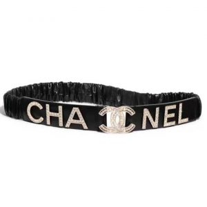 Chanel Women Goatskin & Gold-Tone Metal Belt-Black