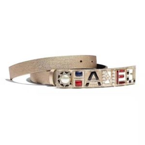 Chanel Women Goatskin & Gold-Tone Metal Belt-Gold