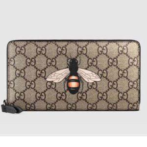 Gucci GG Men Bee Print GG Supreme Zip Around Wallet in BeigeEbony GG Supreme