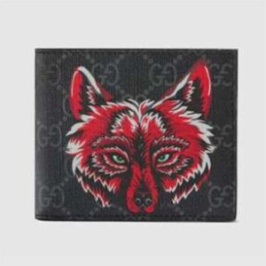 Gucci GG Men GG Supreme Wallet with Wolf in Black and Grey GG Supreme Canvas