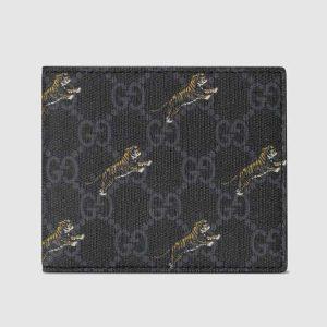 Gucci GG Men GG Wallet with Tiger Print in BlackGrey GG Supreme Canvas
