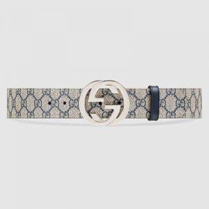 Gucci Unisex GG Supreme Belt with G Buckle in BeigeBlue GG Supreme Canvas